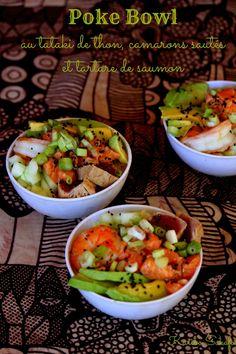 Poke bowl au tataki de thon, camarons sautés et tartare de saumon / Karibo Sakafo Poke Bowl, Menu, Kung Pao Chicken, Ethnic Recipes, Food, Tuna Tataki, Salmon Tartare, Japanese Kitchen, Recipes