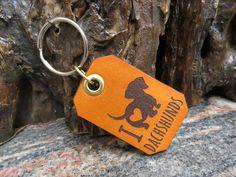 Dachshund Key ring Genuine leather pet dog key chain 635 Thick Leather, Natural Leather, Pet Dogs, Pets, Leather Keyring, Motorcycle Leather, Split Ring, Cowhide Leather, Key Rings