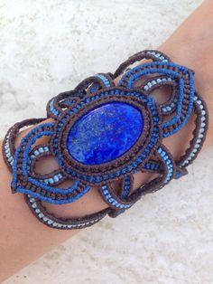 Lapis lazuli Macrame Bracelet Royal blue Celtic by ARTofCecilia, $80.00