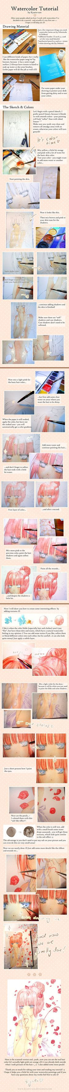 OMG it's done... It took me so much time to put this together ;___; but I've always wanted to do a watercolor tutorial, because some people seem to be quite interested...and yeah here it is I hope ...