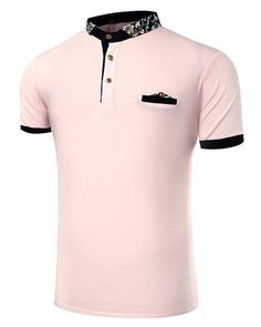 Stand Collar Floral Print Short Sleeve Polo T-Shirt For Men Mens Polo T Shirts, Golf Shirts, Collar Shirts, Camisa Polo, Paint Shirts, Fashion Vocabulary, Men Style Tips, Summer Shirts, Men Dress