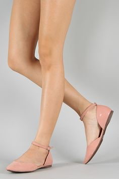 Breckelles Dolley-01 Ankle Strap Pointy Toe Ballet Flat