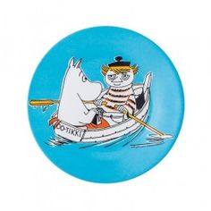 Moomin Dessert Plate: MoominTroll & The Lighthouse Keeper Turquoise melamine by Petit Jour
