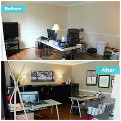The Perry's home office is located adjacent to the front door of their home. Working with a folding table, jumbles of cords, and in dire need of storage. Check out the IKEA Home Tour makeover of this space!