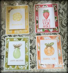 SiaraSweetSensations.com    Stampin Up; Fruit Stand DSP; Fresh Fruit Stamp Set