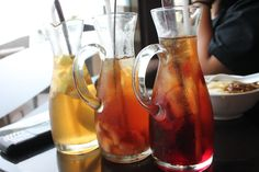 Ice tea with apple, lychee, and strawberry