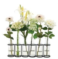 Lily Snowball Rose in Glass Bottle Iron Rack
