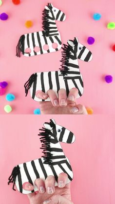 These zebra finger puppets are a fun craft for preschoolers and kids of all ages to make and play with. As a bonus, kids using their fingers to play with their puppets after making them is a great fine motor activity too. #iheartcraftythings Hand Crafts For Kids, Kids Food Crafts, Animal Crafts For Kids, Fun Arts And Crafts, Preschool Crafts, Diy For Kids, Preschool Classroom, Arte Zebra, Zebra Craft