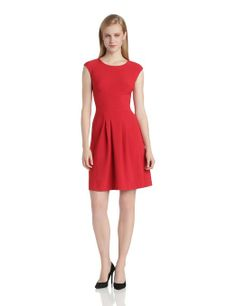 London Times Women's Short Sleeve Pleated Flare Dress at Amazon Women's Clothing store