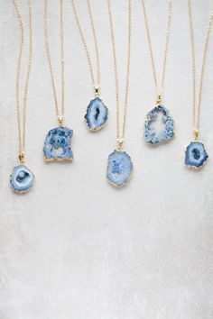 Tsunami Blue Geode Slice Druzy Necklace - 020500025