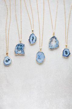 Tsunami Blue Geode Slice Druzy Necklace - 020500025