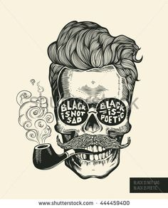 Skull. Hipster skull silhouette with mustache, beard, tobacco pipes and glasses…