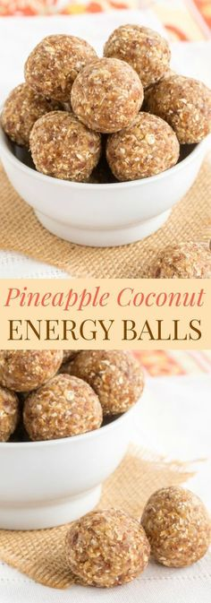 Pineapple Coconut Energy Balls - mix up a batch these easy energy bites for a healthy snack with @DoleSunshine. Perfect to pack in a lunchbox! #ad | cupcakesandkalechips.com | gluten free, dairy free, nut free, vegan