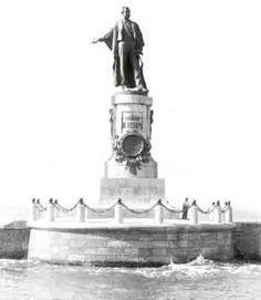 Statue of Ferdinand de Lesseps entering Port-Said. The statue was blown up in 1956 and was restored in 1987. Today it stands on a quay at Port-Fouad. De Lesseps built the Suez Canal before turning his attention to Panama.