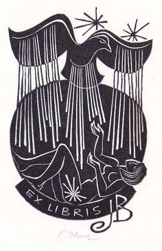Ladislav Rusek   grafika, ex libris, exlibris, linoryt, rozměr tiskové plochy 120:76 mm