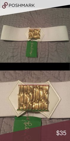 Lilly Pulitzer White Stretch Belt NWT This is the perfect belt to pair with a dress or complete that fabulous skirt/shirt combo you picked up. Clips by gold bamboo hook. Lilly Pulitzer Accessories Belts