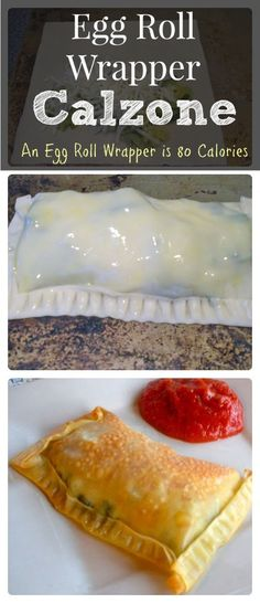 Egg Roll Wrapper Calzone- Low Calorie Pizza Crust.