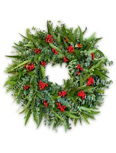 Rich with the vibrant colors of the holidays, our Eucalyptus Berry Wreath elevates the traditional red and green holiday wreath with its sophisticated choice of foliage and charming, sweet scent.