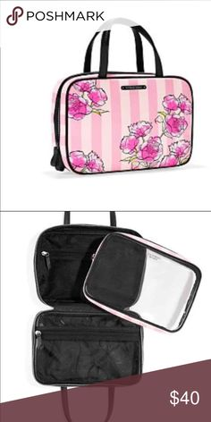 VICTORIA SECRET MAKEUP BAG NWT. Removable pouch as shown in picture #2. Floral design. Good condition! Can hang this up as a shower caddy, makeup bag etc. ZIP AROUND CLOSURE. Double straps for carry. PINK Victoria's Secret Makeup