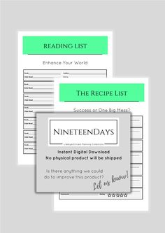 The List Collection -Planner -  List and Rate Books, Movies, Restaurants, Recipes. Instant Digital Download. A4 PDF file. by 19DaysPrintables on Etsy
