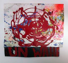 Hermann Josef Hack, UN WAHR, 140714, painting and spray paint on tarpaulin, 17 x 20 cm, 2014