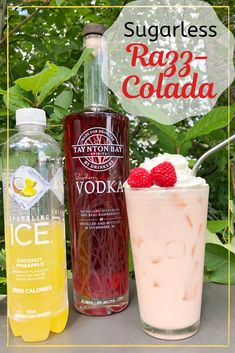 Sugarless Razz-Colada Fruity, creamy, and sugarless, perfect for summer! Taynton Bay Spirits Raspberry Vodka Heavy Whipping Cream Sparkling Ice Coconut Pineapple Combine over ice and enjoy Low Carb Cocktails, Cocktail Drinks, Refreshing Drinks, Fun Drinks, Yummy Drinks, Alcoholic Drinks, Beverages, Alcohol Drink Recipes, Vodka Recipes