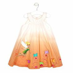 Disney Fairies Woven Dress For Kids | Disney StoreFairies Woven Dress For Kids - Summers were made for this pretty Fairies woven dress. Tinker Bell sparkles among printed flowers and appliqu� butterflies on the lightweight, ombre design with a scalloped edge.