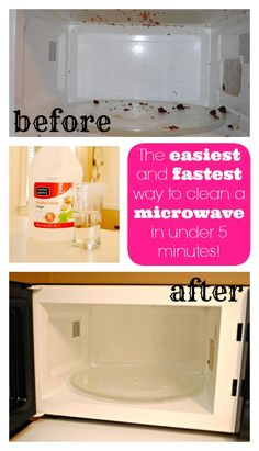 The FASTEST and EASIEST way to clean your microwave. This is genius! - www.classyclutter.net.  Just did this and I just wiped everything away.