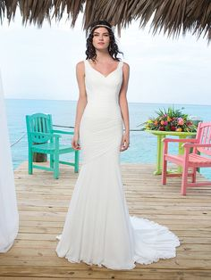 Chapel Length Train Chiffon Mermaid Wedding Gown With Asymmetric Embellishment Back