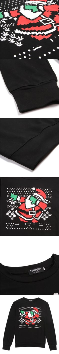 2016 Hot New Year Men Black Santa printed sweatshirt snow image Christmas Hoodies Pullovers casual sweats TOP