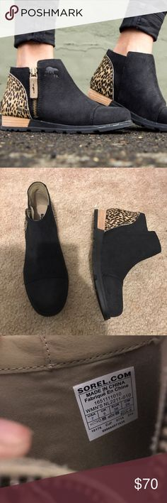 Sorel suede calf hair leopard boots Never worn• some scuffs from being in closet• size 7• no box • NO trades Sorel Shoes