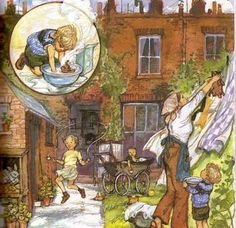 """Love this gorgeous illustration by Shirley Hughes. My kids loved """"Dogger"""" Book Illustrations, Children's Book Illustration, Shirley Hughes, Artists For Kids, Children's Literature, Penny Black, Watercolor Print, Artist Art, Children's Books"""