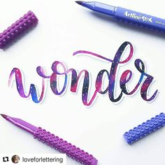 """1,271 Likes, 12 Comments - Hand Lettering Challenge (@happyletteringchallenge) on Instagram: """"Wonder by @loveforlettering  This is so pretty!! Love the galaxy technique for this prompt!! …"""""""