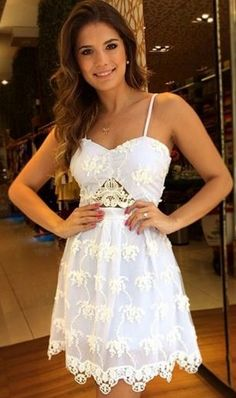 Super Cute! Love the Lace! White Floral Lace Hollow-out Condole Belt Heart-Shaped Neckline Dress #Sweet #White #Lace #Mini #Dress #Spring #Break #Fashion