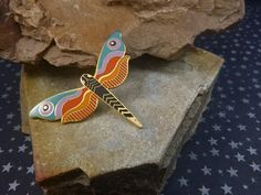 "Laurel Burch Rare ""Dragonfly"" Cloisonné Enamel Vintage Insect Brooch"
