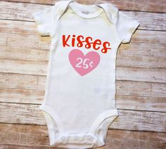 Kisses 25¢ Love Kisses and Valentine Wishes Valentine's Day Onesie XOXO Cupid Love Hearts Arrow SVG and DXF EPS Cut File • Cricut • Silhouette Vector • Calligraphy • Download File • Cricut • Silhouette Cricut projects - cricut ideas - cricut explore - silhouette cameo By Kristin Amanda Designs