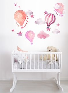 Hot Air Balloon Watercolor Wall Decal Kit - Peel and Stick - kids, babies, nursery R0027 by LimeWallDecor on Etsy https://www.etsy.com/listing/494111658/hot-air-balloon-watercolor-wall-decal