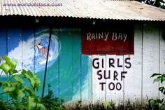 Stock Photo titled: Girls Surf Too - Mural On Surf Shop Costa Rica, unlicensed use prohibited