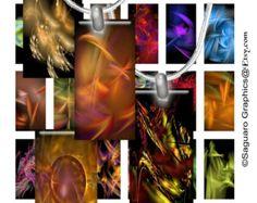 FRACTAL ART 14 - 1.0 x 2.0 inch Domino - Digital Collage Sheet Art for Pendants, Jewelry, Scrapbooks, Arts & Crafts sg148