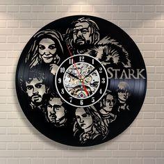 House Stark Game Of Thrones Vinyl Record Clock Home Birthday Party Wall Art  #VinylEvolution #Modern
