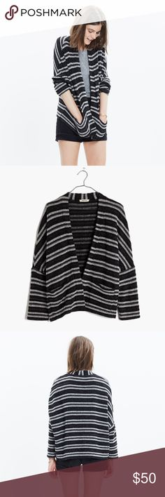 Madewell Striped Upbeat Cardigan in Grey size M/L BNWT. Grey and black stripes. Loose fit - size M/L. Buttonless sweater/Cardigan Madewell Sweaters Cardigans