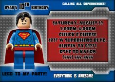 Superman Birthday Invitations | Kustom Kreations Superman Birthday, Superman 1, Superman Man Of Steel, 5th Birthday, Superhero Birthday Invitations, All Superheroes, Everything Is Awesome, I Party, Rsvp
