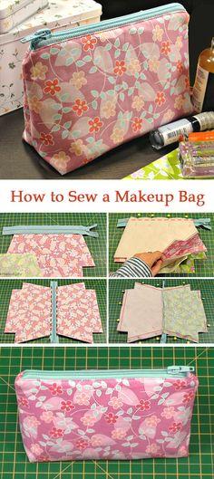 Comment coudre un sac de maquillage ~ Idées tutoriel bricolage! Sewing Hacks, Sewing Tutorials, Sewing Crafts, Sewing Tips, Sewing Ideas, Diy Crafts, Makeup Bag Tutorials, Free Tutorials, Quilt Tutorials
