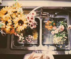 This would be a perfect little double sink for a little cabin out in the woods and of course I'd have to decorate with these flowers Wild Flowers, Beautiful Flowers, Fresh Flowers, Happy Flowers, Cut Flowers, The Last Summer, Cactus, Plants Are Friends, Mother Nature