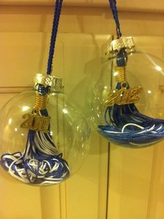Great idea to reuse your graduation tassels: turn them in to Christmas ornaments. We have a few of these laying around!