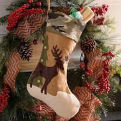 Even the most seasoned hunter needs an appropriate Christmas stocking! Our Camo Deer Christmas Stocking features a green camouflage cuff with burlap accents. Felt Christmas Stockings, Christmas Stocking Pattern, Christmas Deer, Rustic Christmas, Handmade Christmas, Christmas Stuff, Christmas Time, Merry Christmas, Camo Crafts