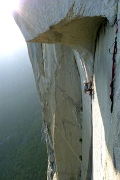 // Cleaning the spectacular Great Roof pitch on the Nose, Yosemite.