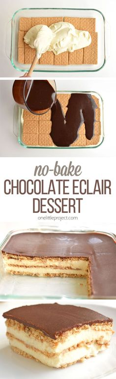 This chocolate eclair cake is such an easy dessert! And it tastes AMAZING with its creamy and delicious layers!! Just like a chocolate eclair, but in a cake.