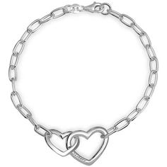 Sisters Engraved Interlocking Hearts Link Bracelet Silver 7.5in ($27) ❤ liked on Polyvore featuring jewelry, bracelets, grey, link-bracelets, silver bangles, silver jewelry, silver jewellery, silver heart bangle and polish jewelry