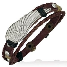 Mens Surfer Style Leather & Cord Angels Wing Bead Bracelet